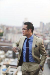 Men's Tan Suit, Blue Chambray Dress Shirt, Navy Knit Tie ...
