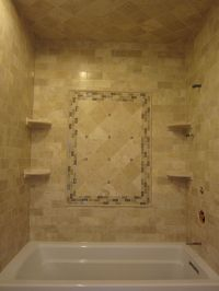 Travertine subway tiles and 6x6 with sonoma tile accent ...