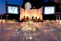 modern glass tables ghost chairs wedding party flowers ...