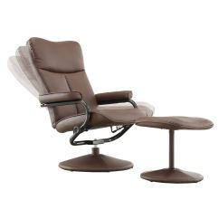 Leather Swivel Recliner Chair And Ottoman Pool Towel Covers Olivia Bonded With Inspire Q Modern Brown