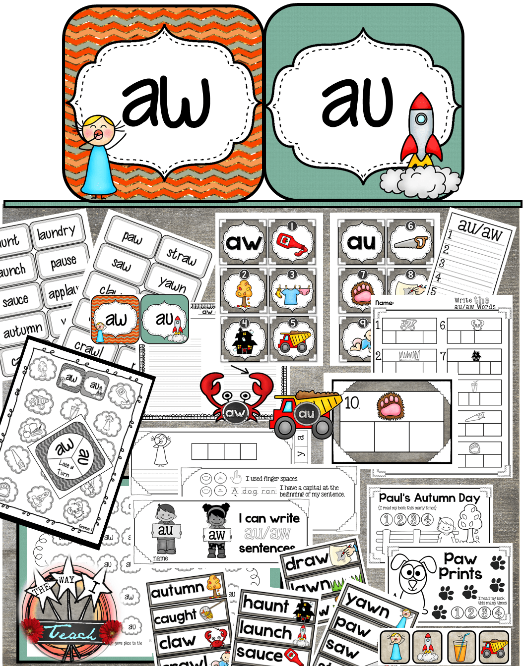 Diphthongs Au Aw Word Work And Phonics