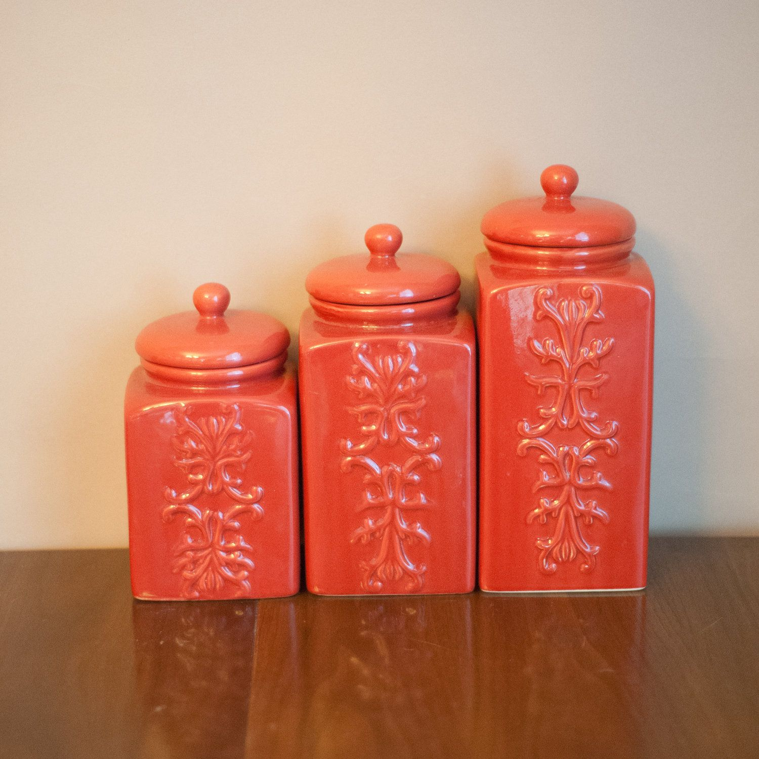 kitchen canisters ceramic home depot appliance packages set of vintage coral chinoiserie