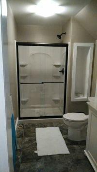 Small bathroom ideas: greige walls, bright white trim ...