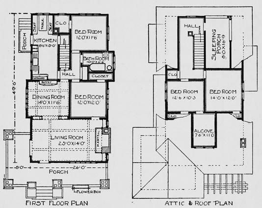 Bungalow Floor Plans, Small Craftsman House Plans, 2 Story