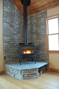 Corner Wood Stove Ideas | few elements (like wall color ...