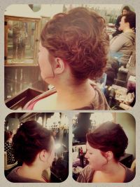 Short hair curly updo. Updo for bob, chin length hair ...