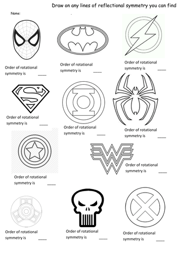 Superhero symmetry- rotation and reflection worksheet
