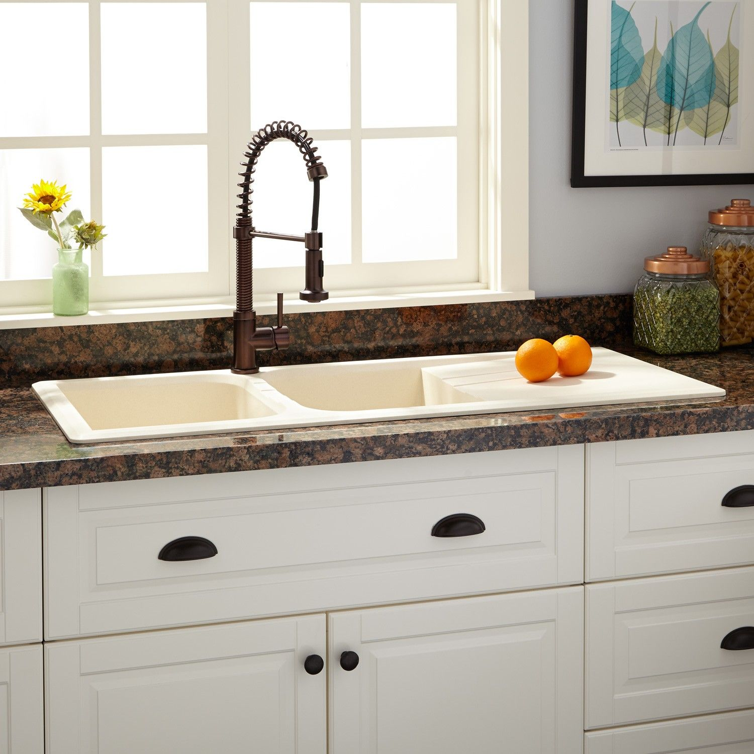drop in farmhouse kitchen sinks cook stoves 46 quot owensboro double bowl granite composite sink