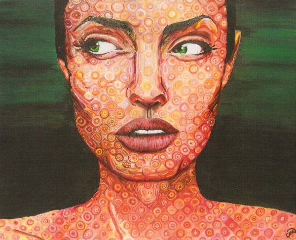 Angelina In Chuck Close Style -aprendido Art