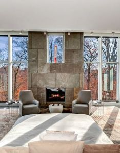 Beautiful view from bed of  fireplace and fall foliage in this  also pin by tino on room porn pinterest rh