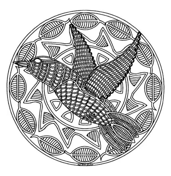 Free Coloring Page Coloring-free-mandala-difficult-adult-print-bird . Zentangle Doodles