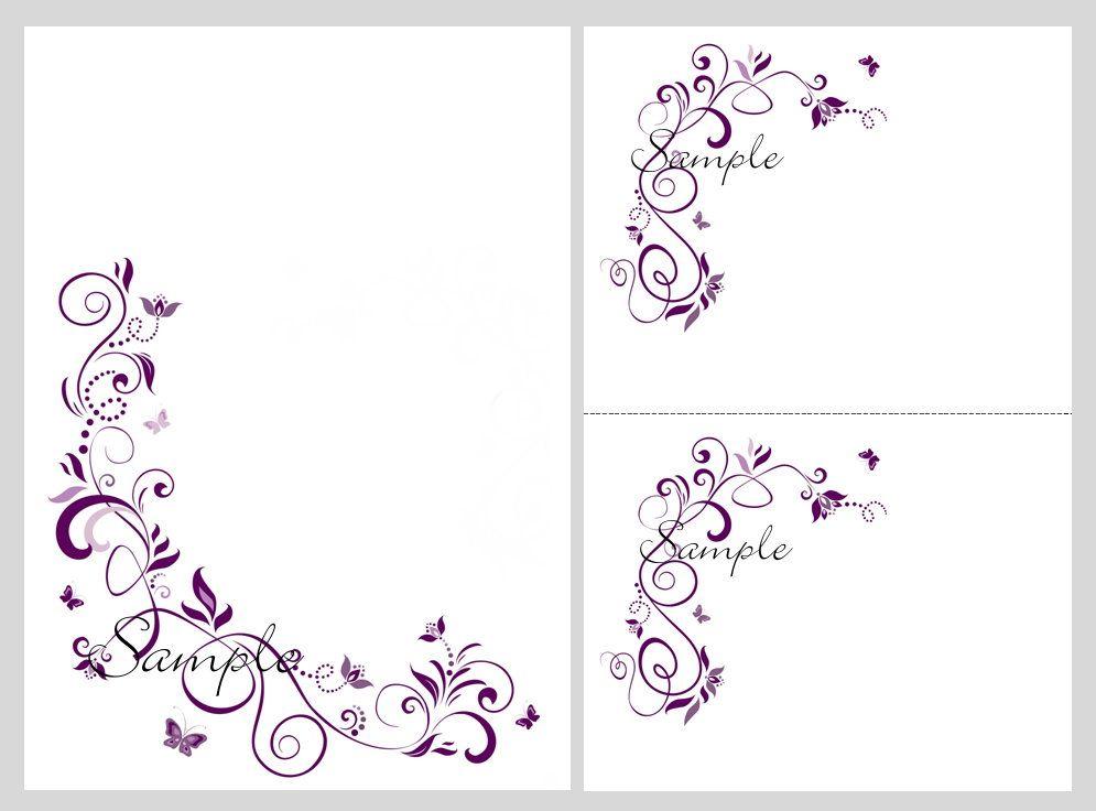 100 Printable Wedding Invitation Kit Purple Butterfly