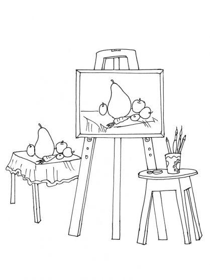 Thema kunst voor kleuters, kleurplaat / Art theme for