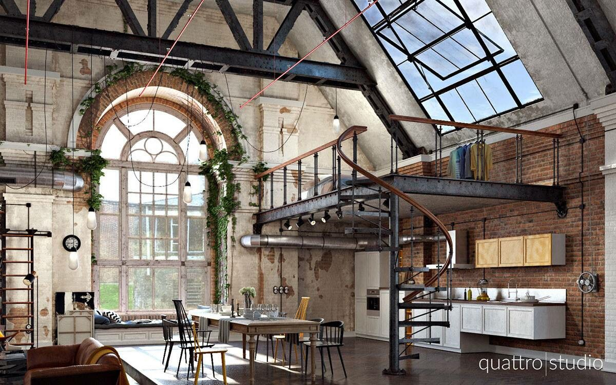 Take a look at this stunning industrial loft  vintageindustrialstyle industrialdecor