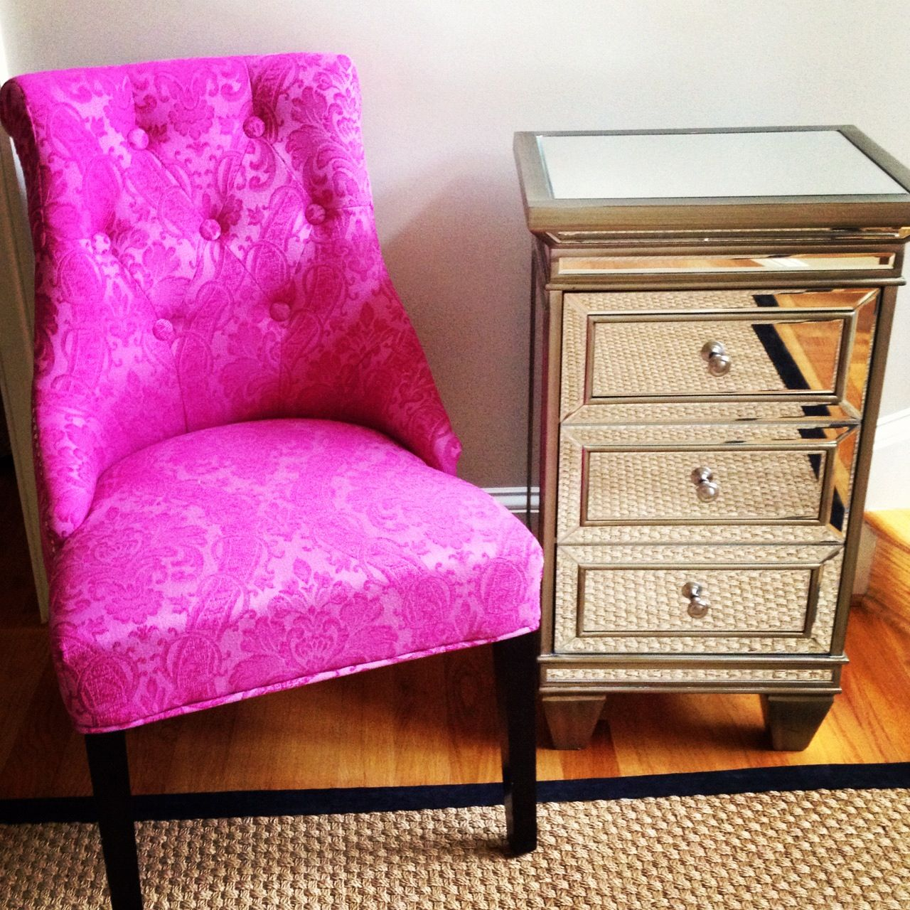cynthia rowley sofa leather apartment sale chair and mirrored side table from