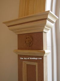 arch moulding | simple paneled pilaster with lion head ...