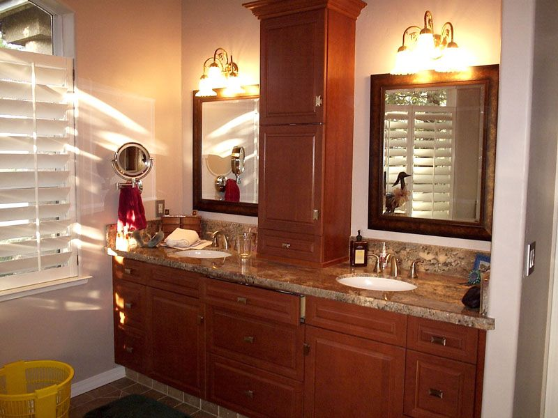 countertop linen storage in the bathroom