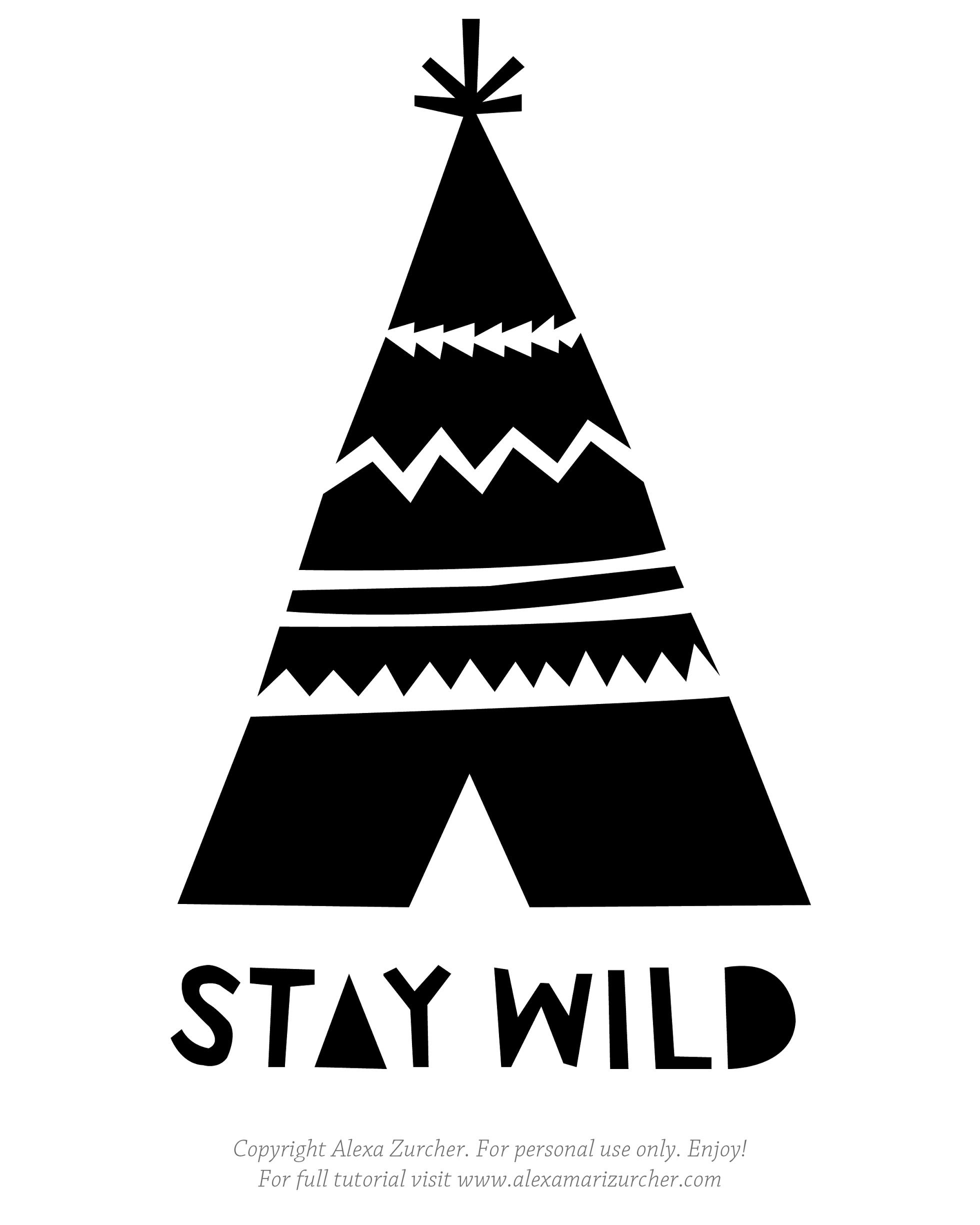 Displaying Stay Wild Stencil