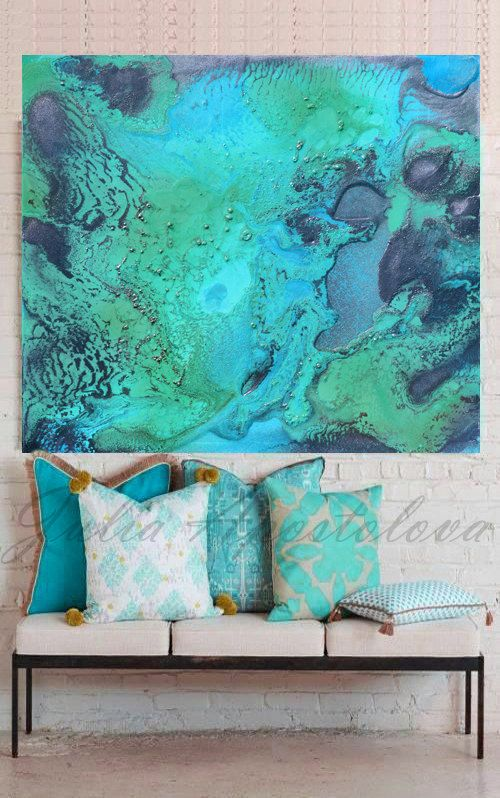 Turquoise Print, Aqua Wall Art, Abstract Painting