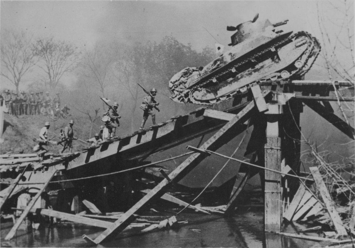 Japanese Type 89 Tank Yi Go Climbs The Bridge Over The