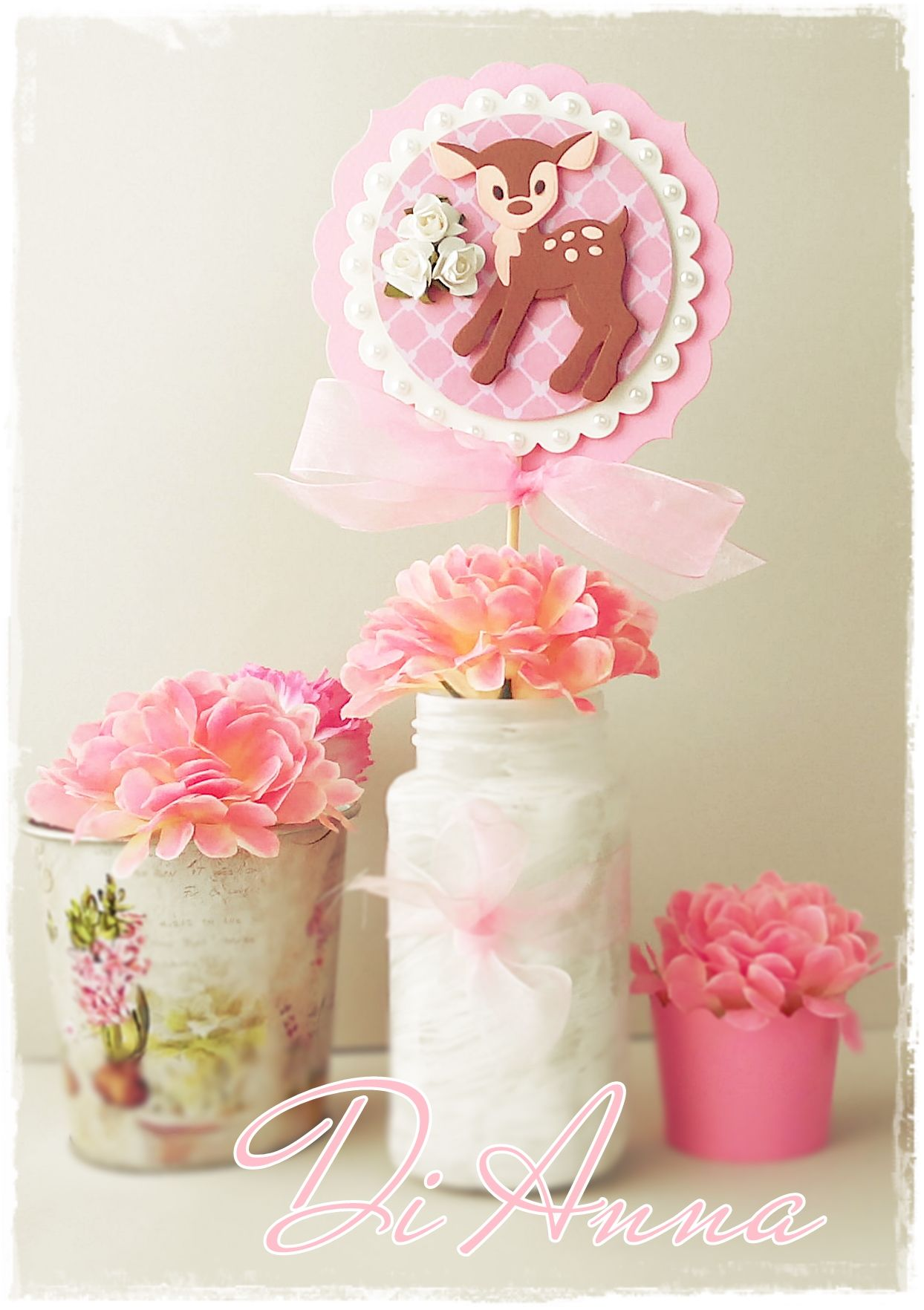 Baby Girl Shower Centerpiece Bambi 3D Unique Decor in Pink