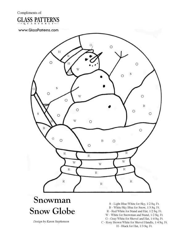 snow globe pattern  faux stained glass window projects