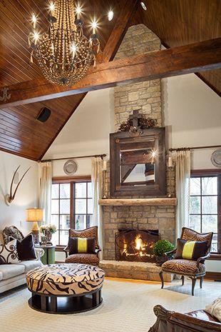 Rustic Beamed Ceiling Living Room Family Room Den Interior