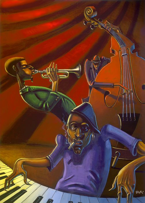 Jazz Trio By BUA Original In Private Collection ART JAZZ MUSIC BUA Paintings Amp Prints