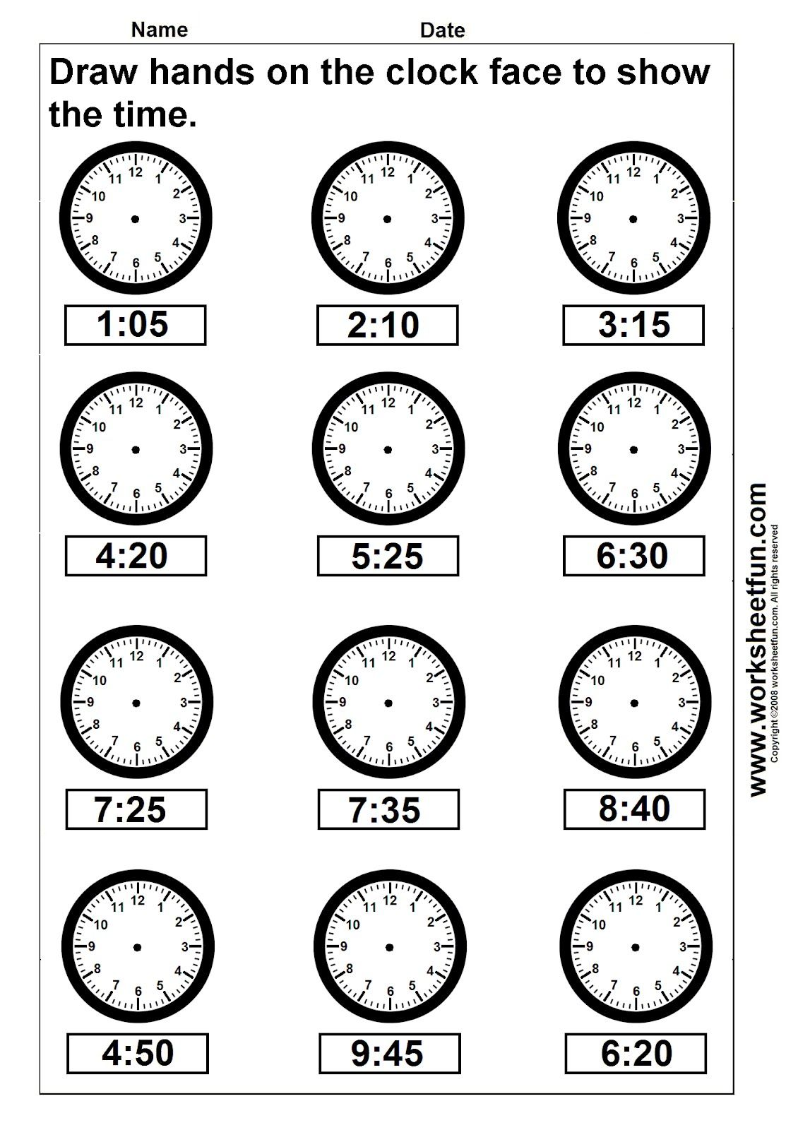 Clock Telling Time Worksheet Printable Worksheetfun