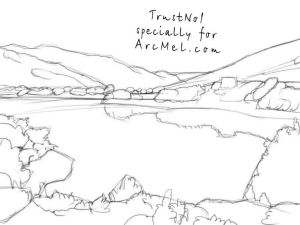 lake draw step drawing water drawings pencil arcmel lakes mountains sketches trees tips terrain surface background perspective around