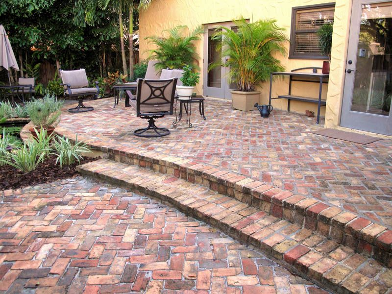 Brick herringbone patio  Concrete Pavers  Clay Brick