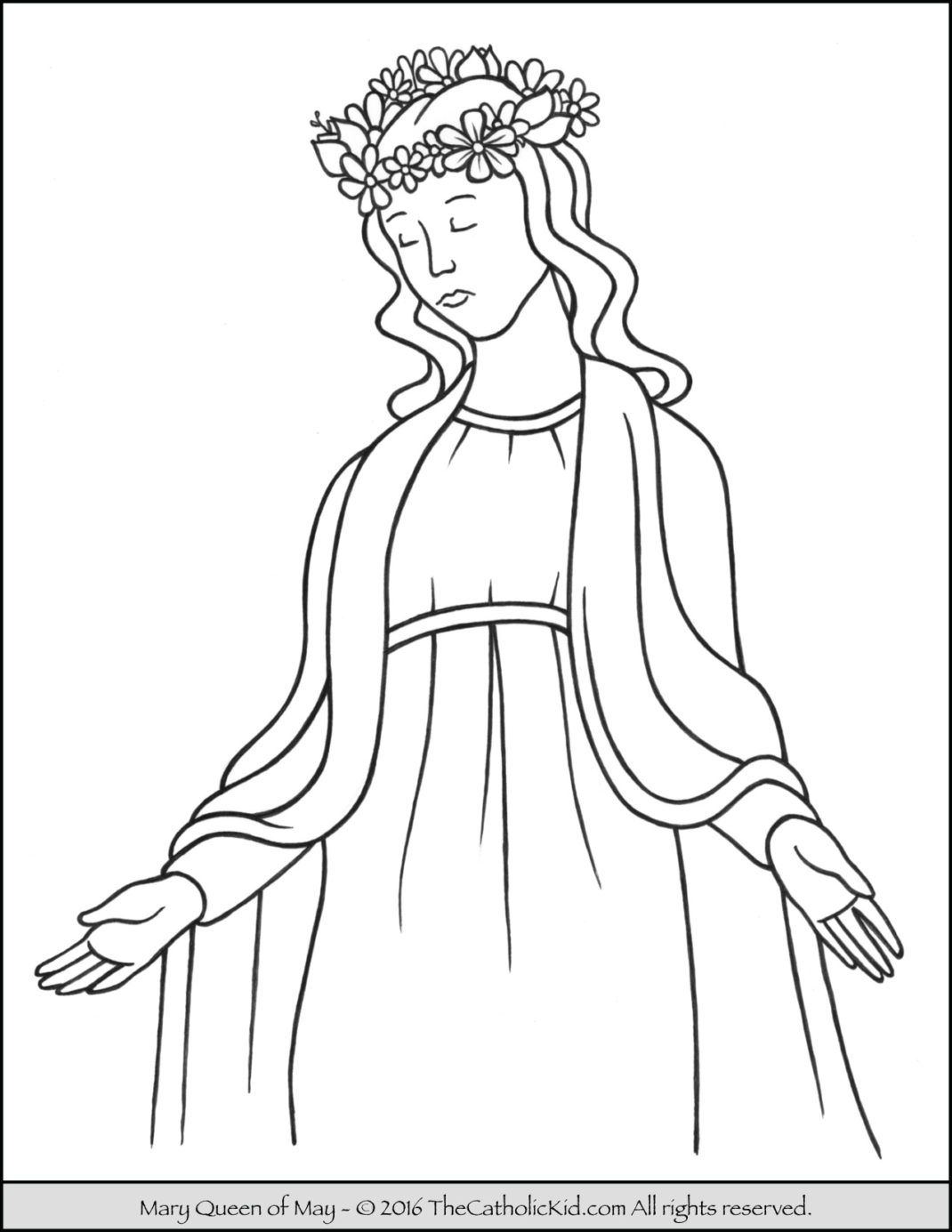 Mary Queen Of May Crowning Coloring Page