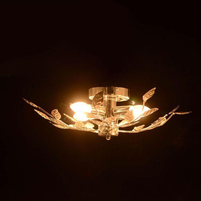 Chrome Willow Leaf 4 Lights Modern Flush Ing Chandelier Ceiling Light Uk