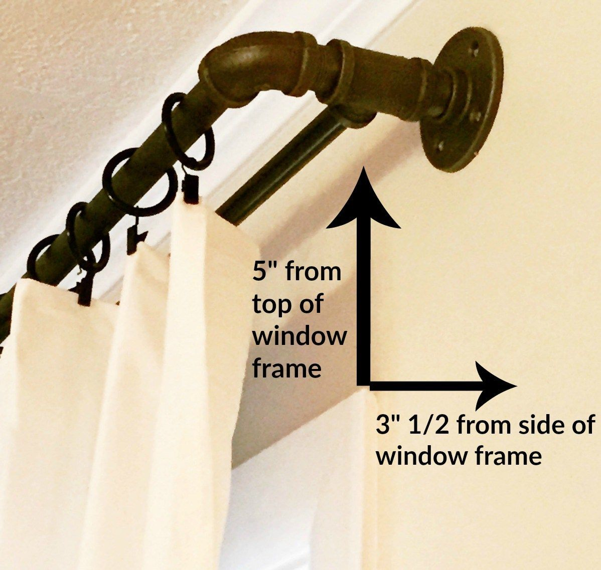 DIY double industrial conduit curtain rod  Window House