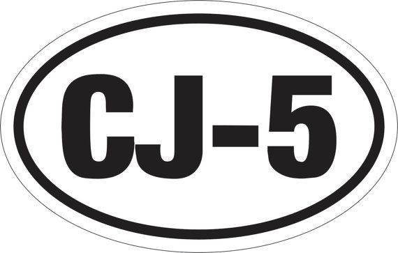 OVAL STICKER CJ5 3.5 x 5.5 Window Decal Bumper Sticker Car