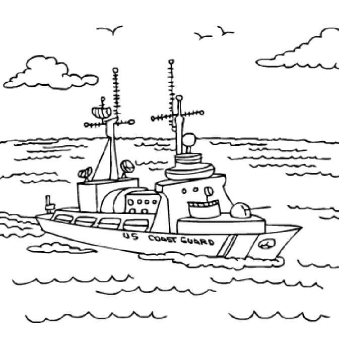 Free Printable Coloring Pages. U.S. Coast Guard ship