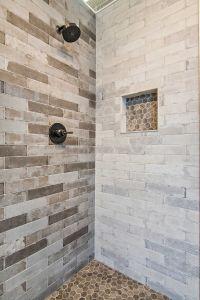Bathroom brick earth tone shower tile - Bricklane Olive ...