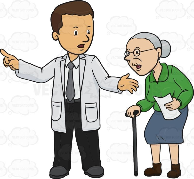 Doctor is pointing an elderly woman in the right direction