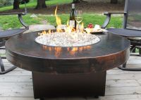 "Hammered Copper 42"" Round Oriflamme Fire Table Gas Fire ..."