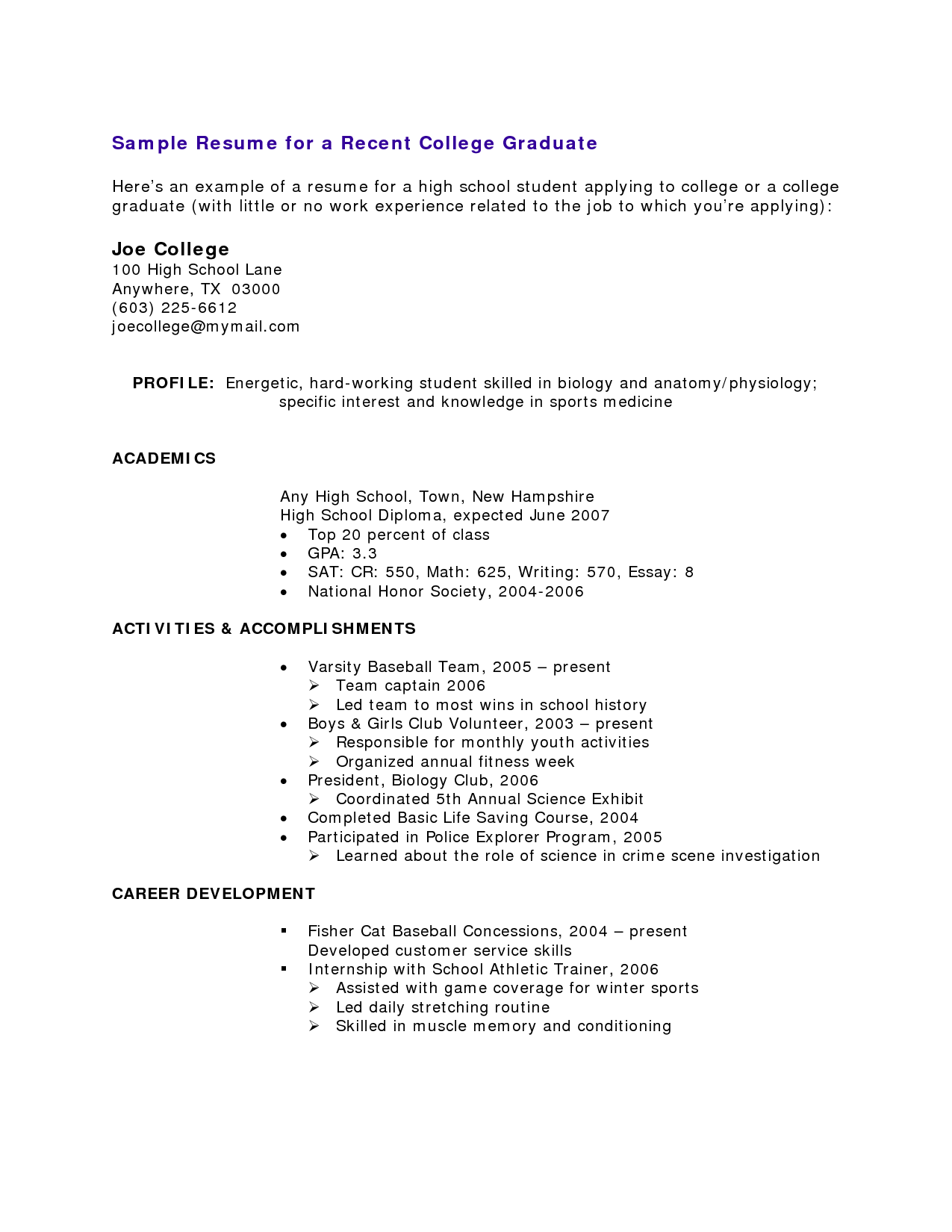 Resumes Templates For Students With No Experience  httpwwwresumecareerinforesumes