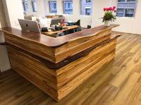 live edge wood design for reception desk   Reception Desks ...