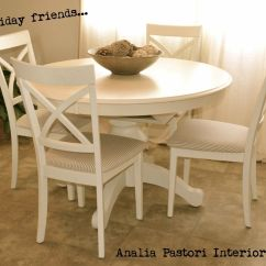 White Distressed Dining Chairs Blue Chair Covers For Weddings Farmhouse Style Antique Round Table And