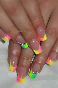 Nail Art - Multi Spring Color French Tip | Nails ...