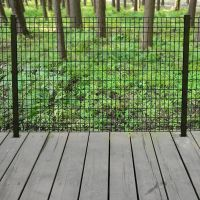 Deco Grid 4 ft. x 6 ft. Steel Black Fence Panel