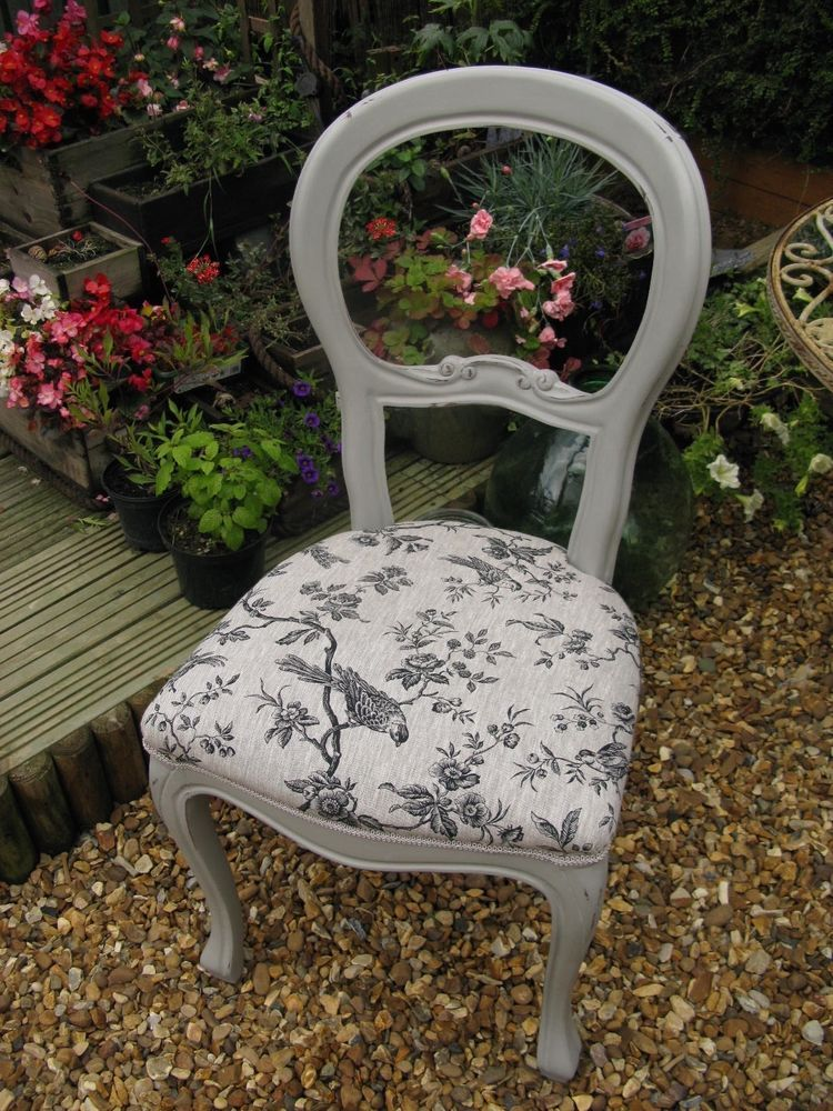 recover dining room chairs folding boat shabby chic french balloon back bedroom chair annie sloan- paris grey   ...