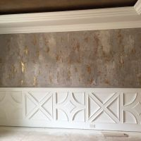 Modern Masters Venetian Plaster on walls with gold foil ...