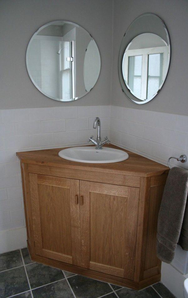 Corner Oak Wooden Vanity Furniture With Modern White