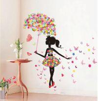 Butterfly Girl Removable Wall Art Sticker Vinyl Decal DIY