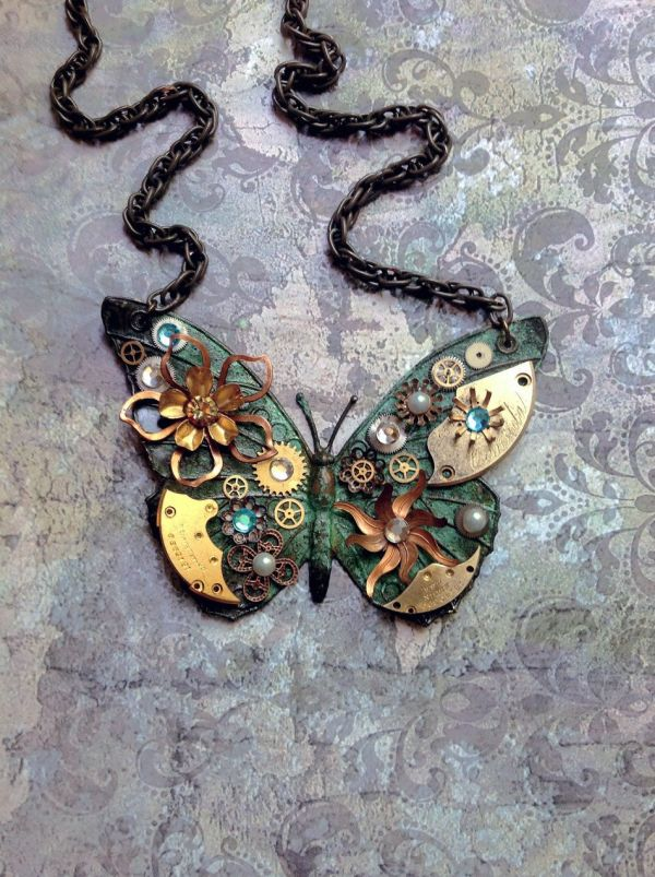 Steampunk Butterfly Necklace - Custom Design Emerald Green