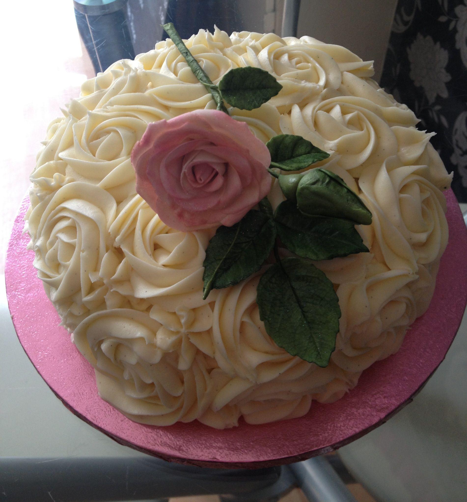 70th Birthday Cake Rose Swirl Design